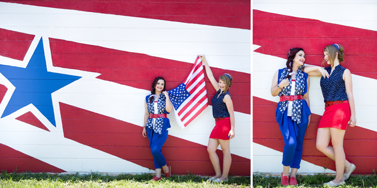 Fun styled shoot session by the red, white and blue painted wall
