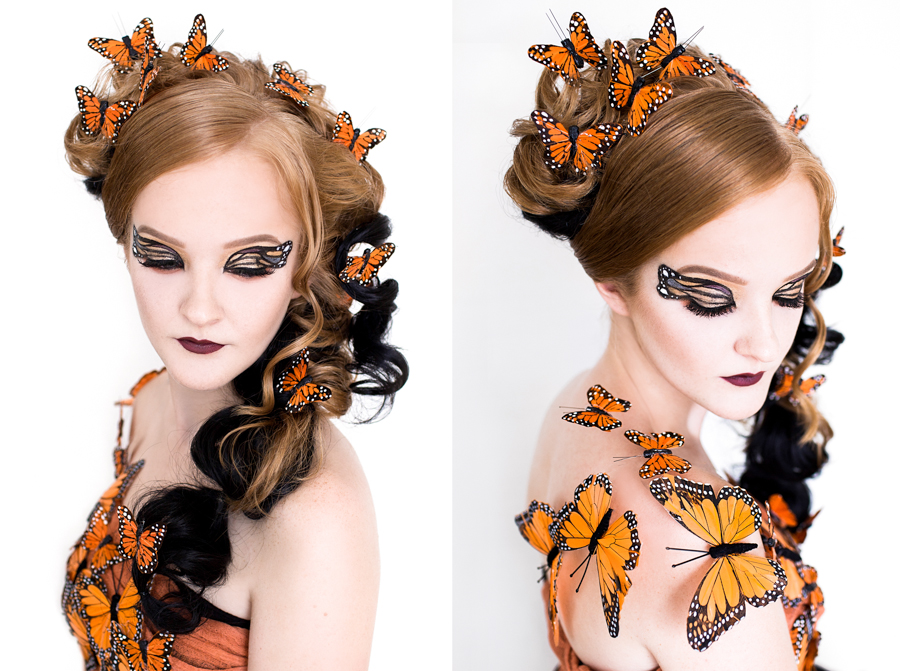 Beauty shots of a model styled as a butterfly