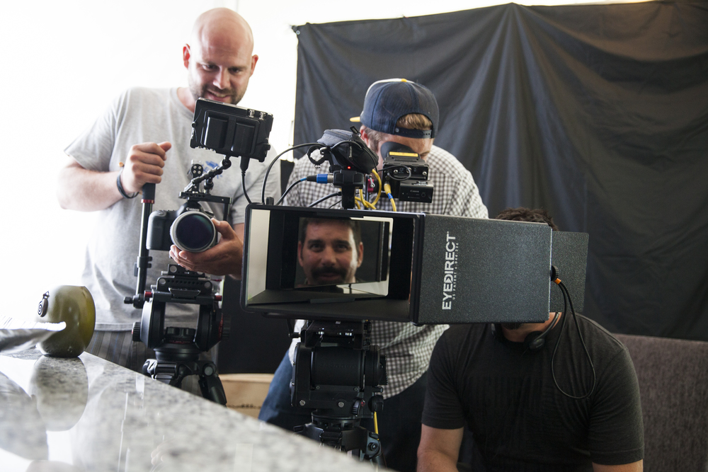 The Eye Direct sytems allows the talent to see the director in front of the lens  providing direct eye line for shooting real people