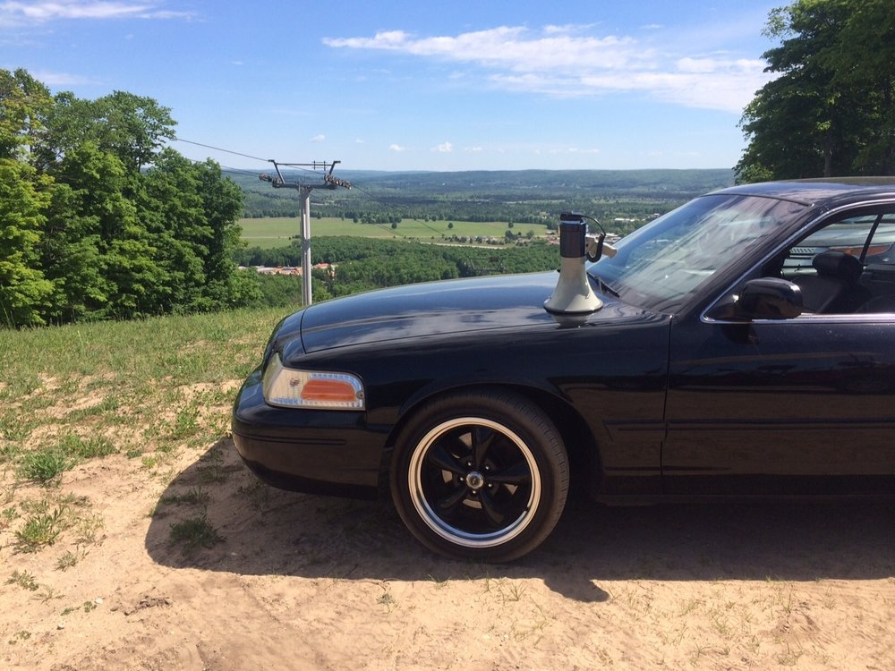 <strong>Black Sedan on top of Boyne Mountain</strong>