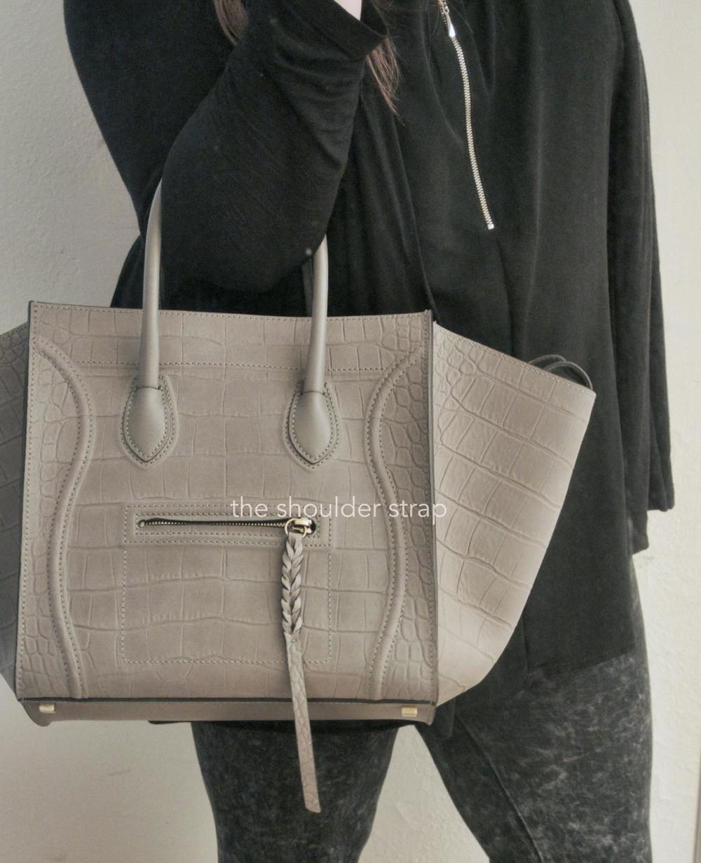 celine bags online shop - C��line Grey Croc Stamped Phantom �� The Shoulder Strap
