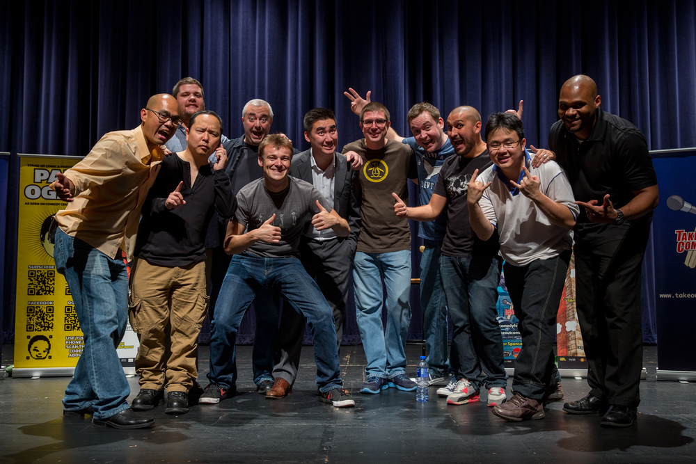 Finalists of the 2013 Hong Kong International Comedy Competition. William Childress, Pete Grella, Sean Hebert, Myself, Ryan Hynek, Sam Moorhouse, Matthew Giffin, Jason Leong and Jim Brewsky, with Paul Ogata as host.