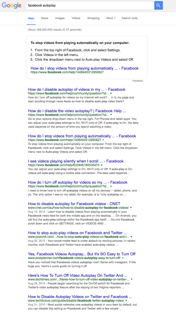 """Facebook autoplay"" Google search"