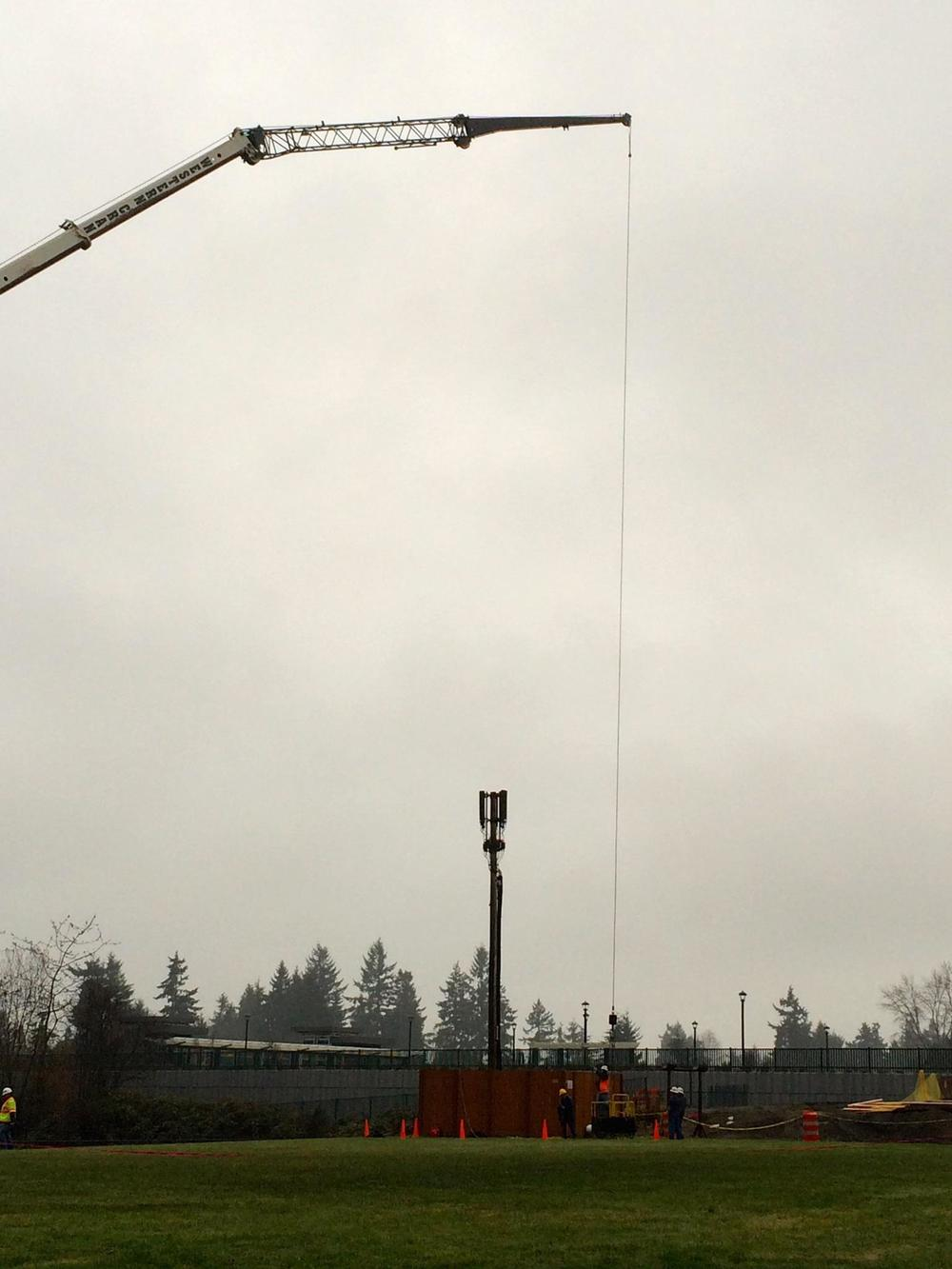 T-Mobile tests heights for permanent industrial cell tower in December 2014. They refused to test any sites outside the park.