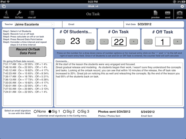 The  OnTask  tool provides on and off task counters with a narrative space to focus your observation on student engagement.