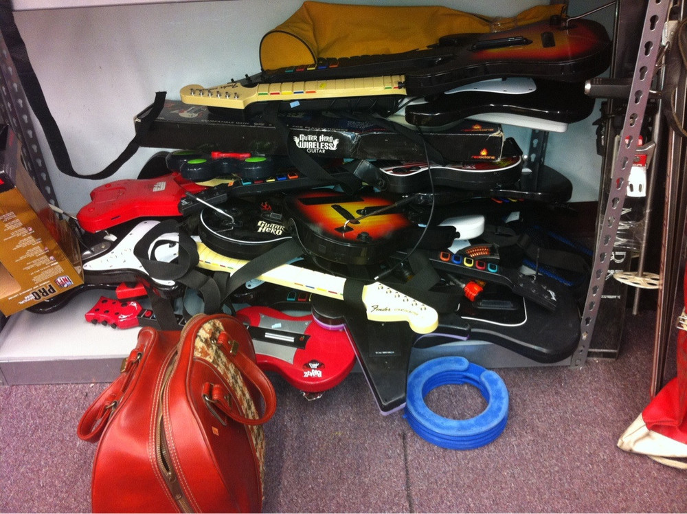 Thrift stores like Goodwill were loaded with both Rock Band & Guitar Hero instruments over the past several years. now they're in high demand.   PHOTO CREDIT:  ©  /r/Gaming