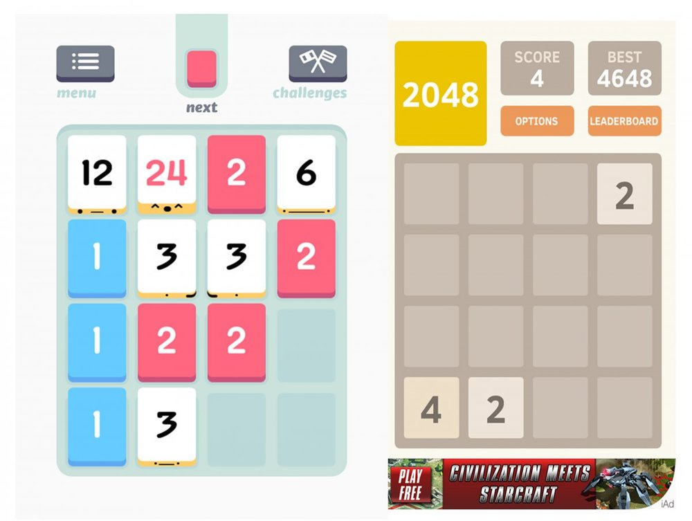 "Last year, number matching game Threes competed against 2048, a similar game originally ""inspired"" by Threes. App stores often have many lookalike games feeding off of one another's successes. PHOTO CREDIT:  Ryan Bushey/Business Insider"