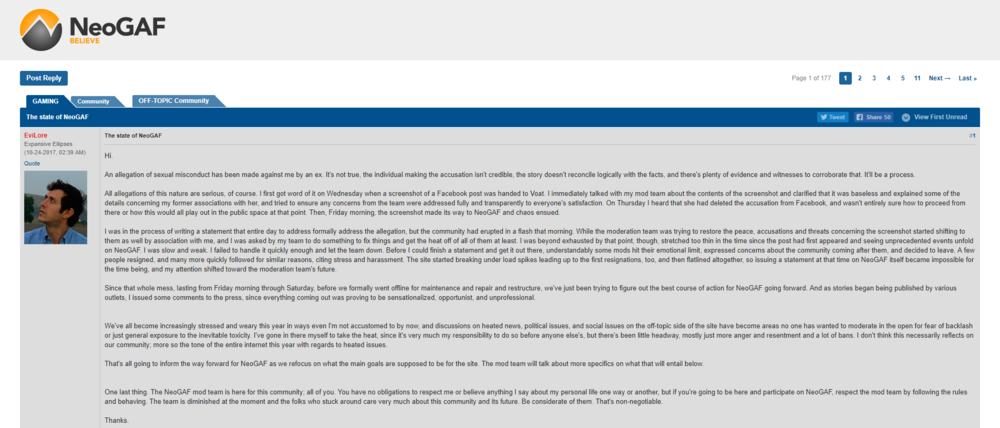 "Tyler ""EviLore"" Malka released this statement on NeoGAF on Tuesday. Click to enlarge."
