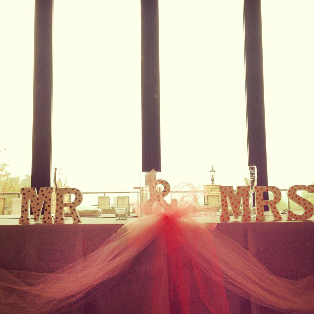 William and Samantha's table decor included a hand painted set of Mr. and Mrs. wooden letters.
