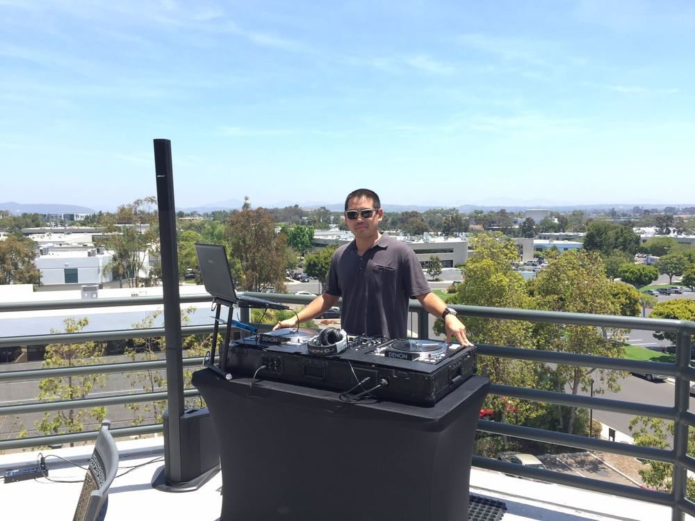 DJ Justin Kanoya provides lunchtime tunes for the employees at Proven Inc.