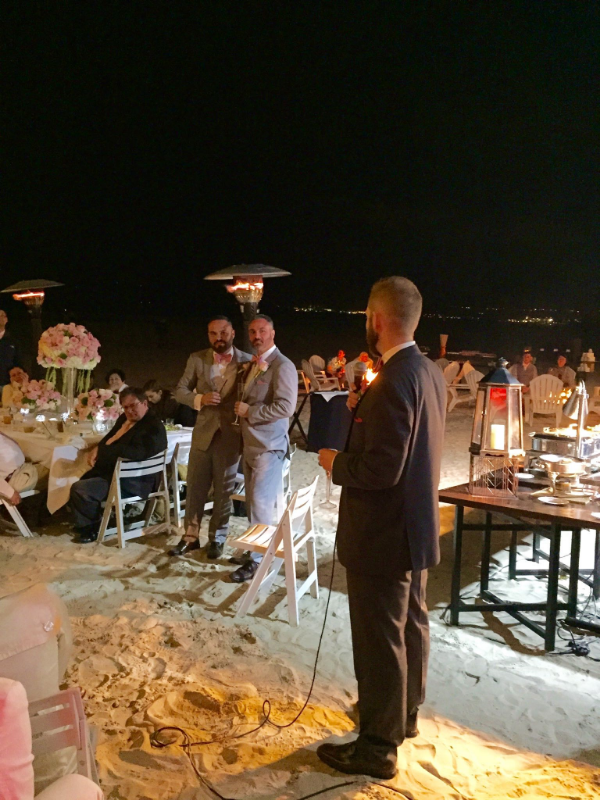 Brian and Todd are toasted at the wedding on the beach in Coronado. They celebrated their wedding at the  Hotel Del Coronado  in May 2015.
