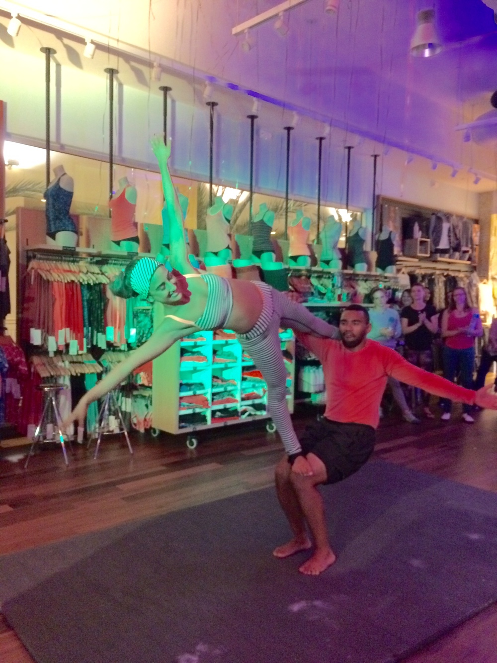 An acroyoga performance is one way to entertain and impress guests at a party.