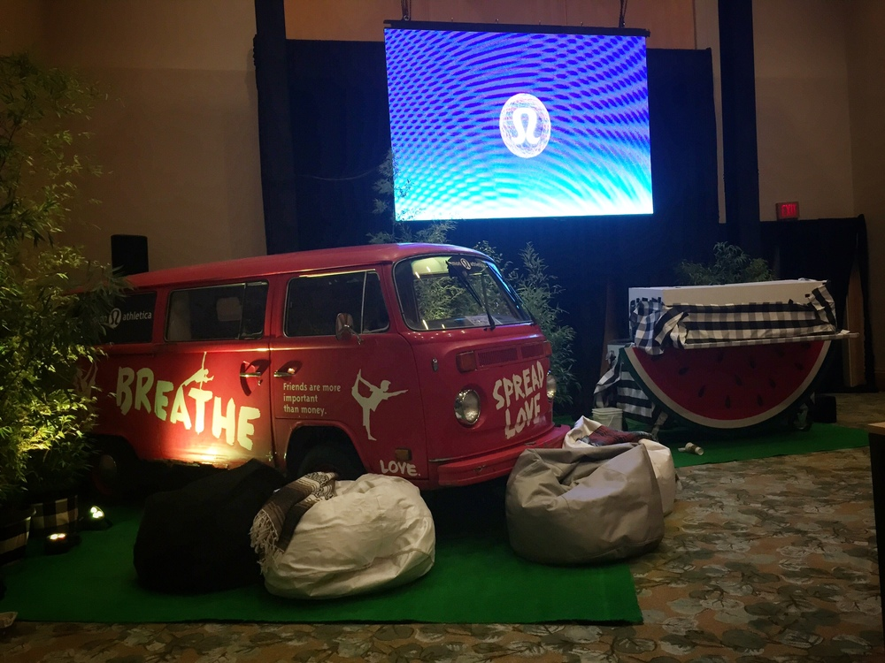 Tucker, a custom painted VW van was part of the lobby decor at the Westin Bayshore. He is from the original Lululemon store and was placed right next to my DJ booth.