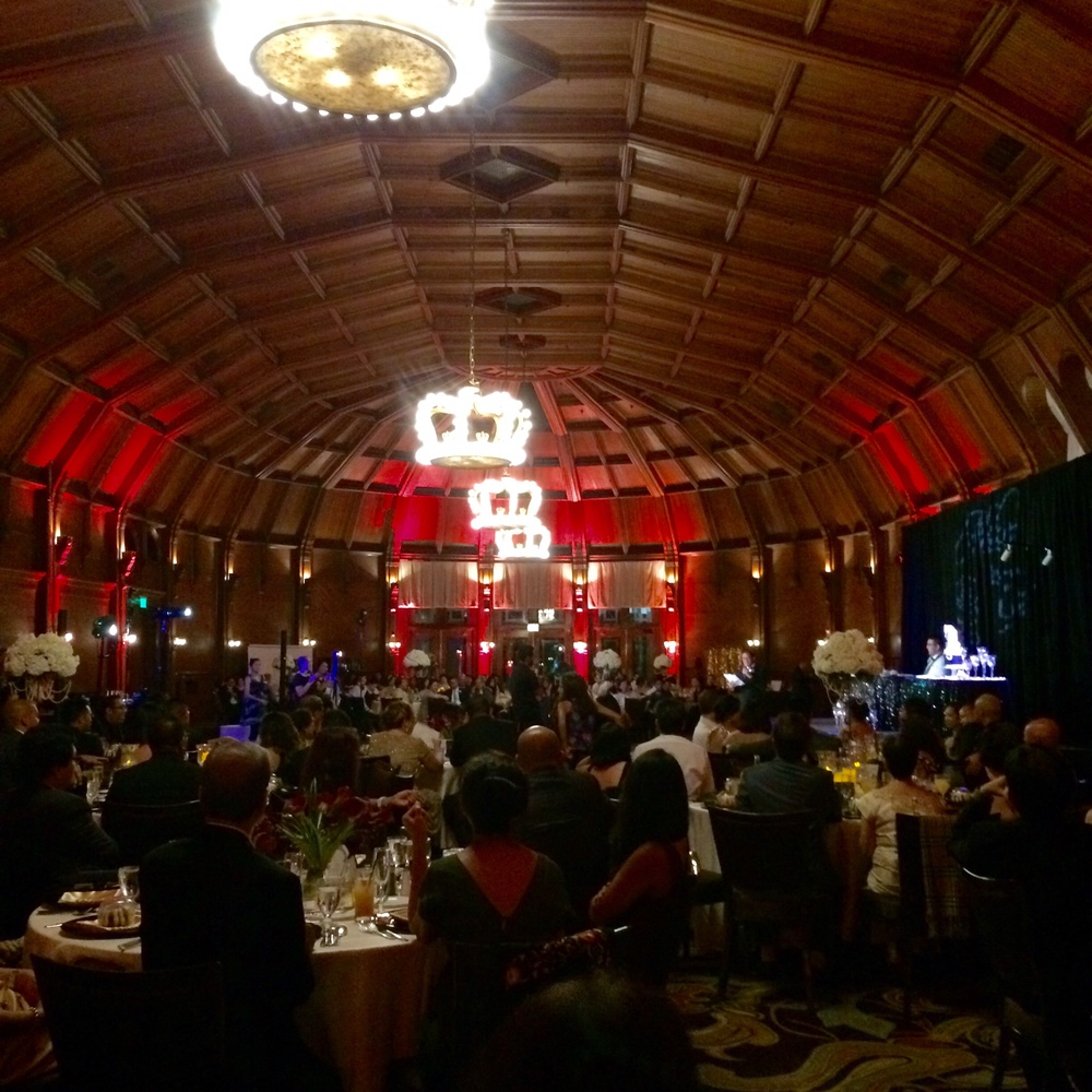 The Hotel Del Coronado Crown Room, with uplighting, monogram, DJ service and dance floor lighting all provided by DJ Kanoya.