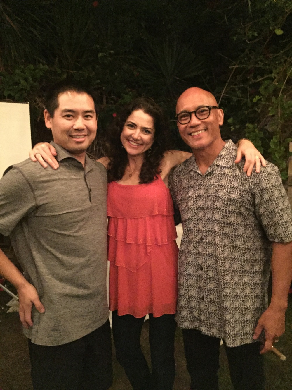 The birthday party DJ, Justin Kanoya, with the birthday boy, Adrian and his wife, Celestine.