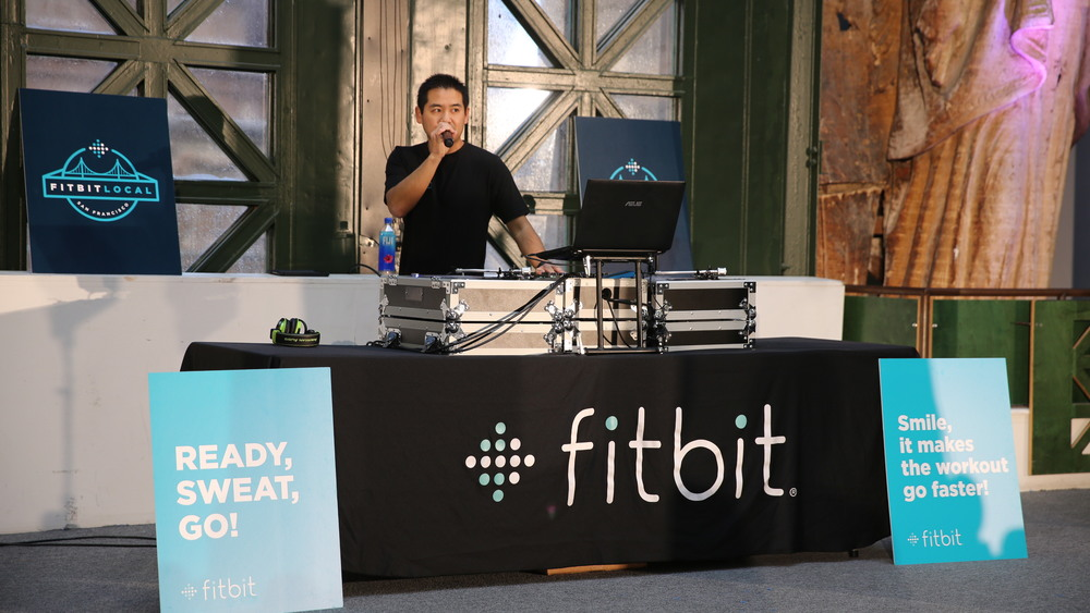 San Diego based DJ, Justin Kanoya, at the Fitbit Local kick off.