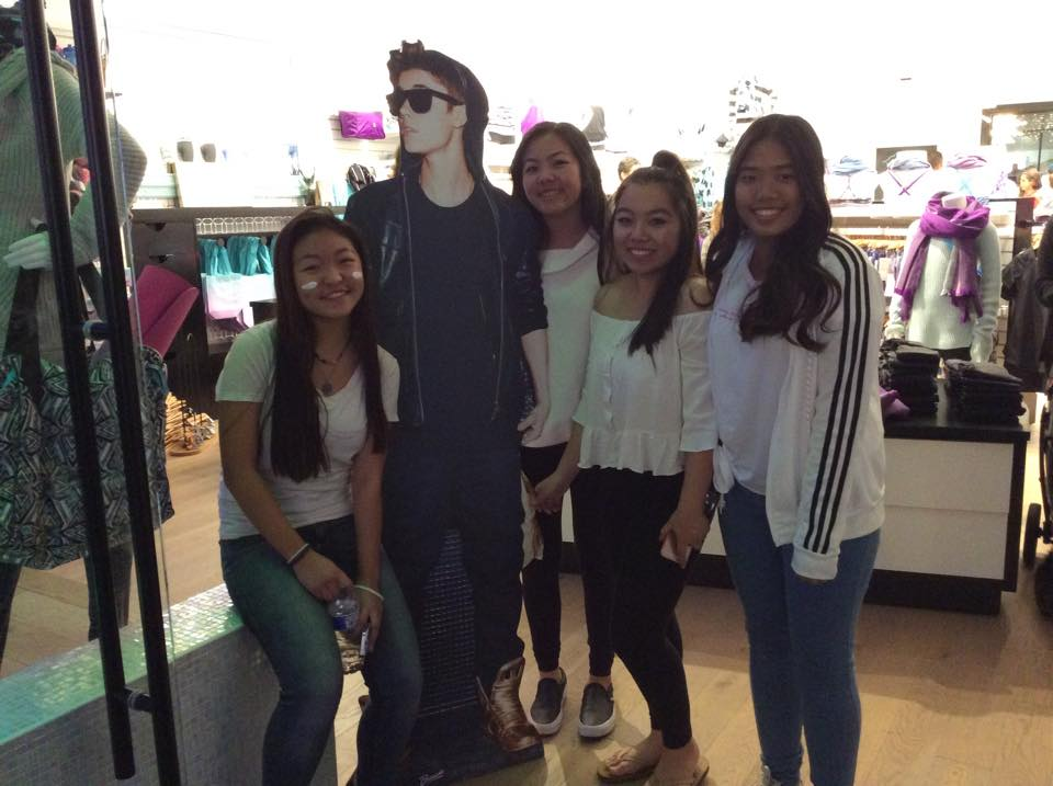 Justin Bieber dance party at Ivivva, University Town Center, Westfield mall in La Jolla, California.