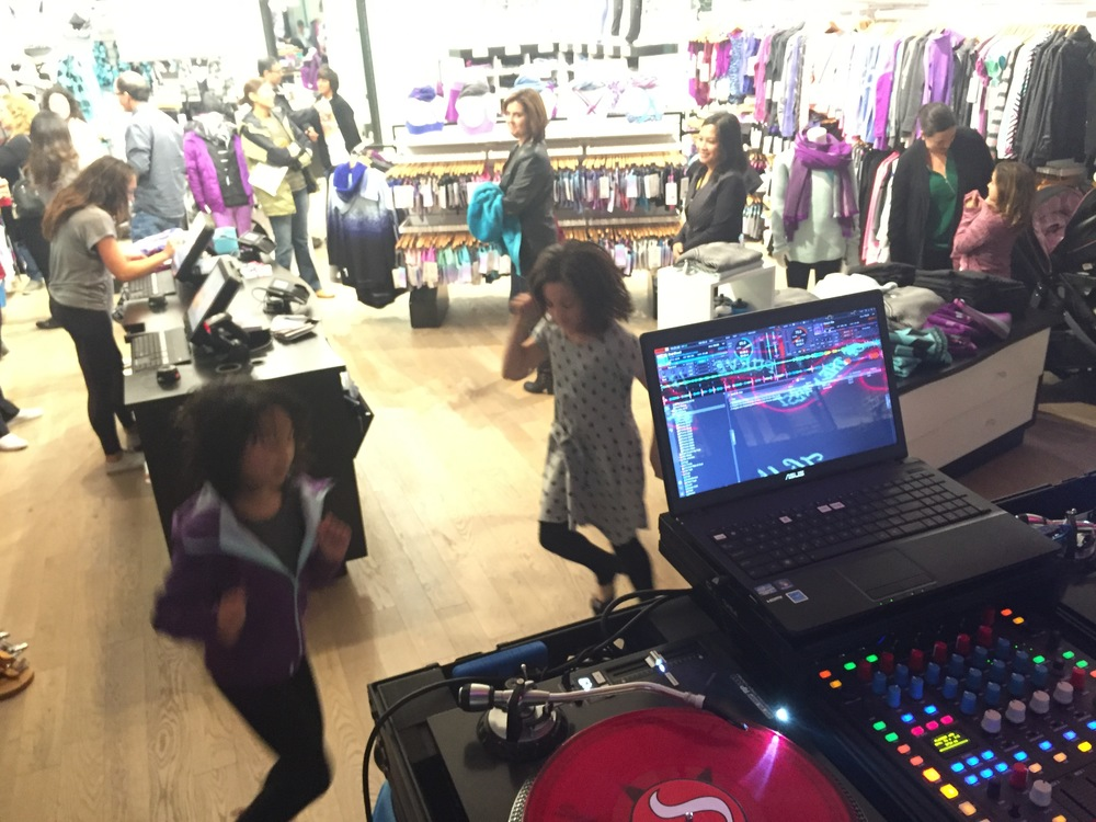 Justin Kanoya DJ's the Justin Bieber Dance Party at Ivivva UTC in La Jolla, California.