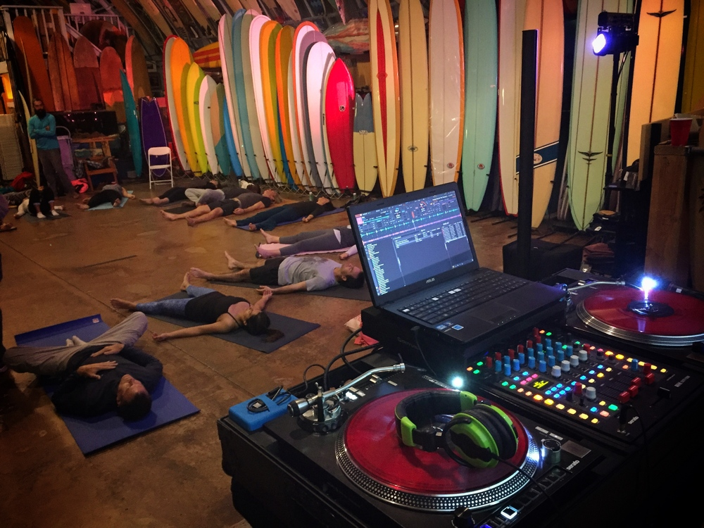 Yoga 4 Homeless kicked off their fundraising campaign at Bird's Surf Shed in San Diego. Justin Kanoya, San Diego DJ, provided music for the yoga and dance sessions.