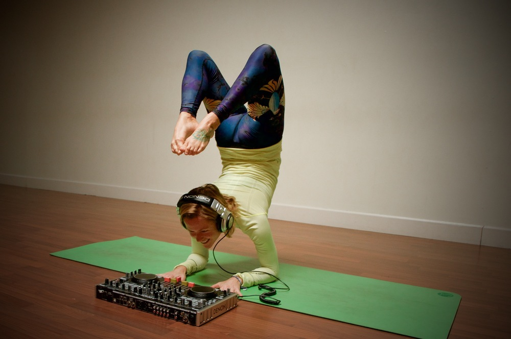 Scorpion DJ? Or just a scorpion pose with DJ gear. Programming music for yoga is more than just picking out random downtempo beats.