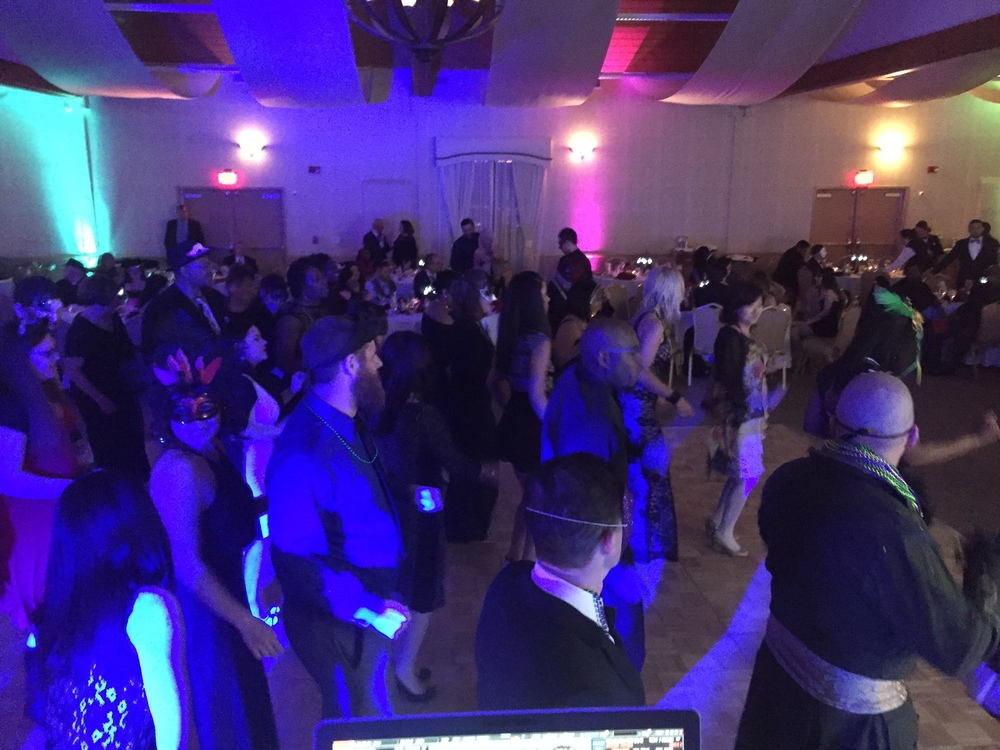 Pacific Marine Credit Union employees and their guests dance the night away to the sounds of San Diego DJ Justin Kanoya. The company's holiday party took place at South Coast Winery in Temecala, CA.