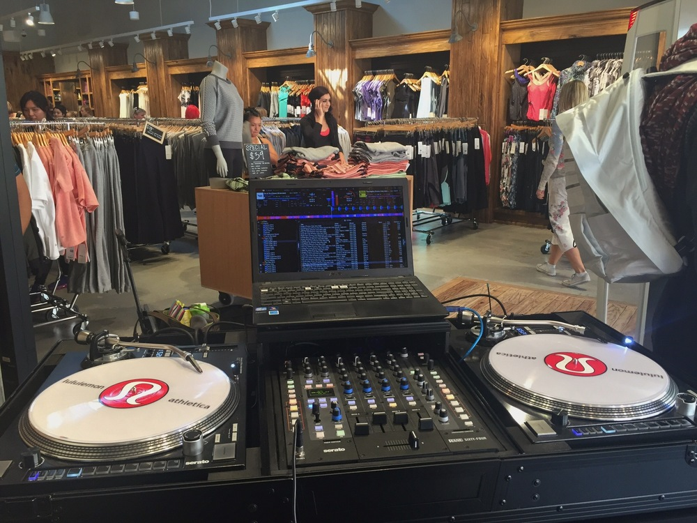 San Diego wedding and special event DJ, Justin Kanoya, was on hand to provide music at the grand opening of the Lululemon Outlet store in   Cabezon, CA.