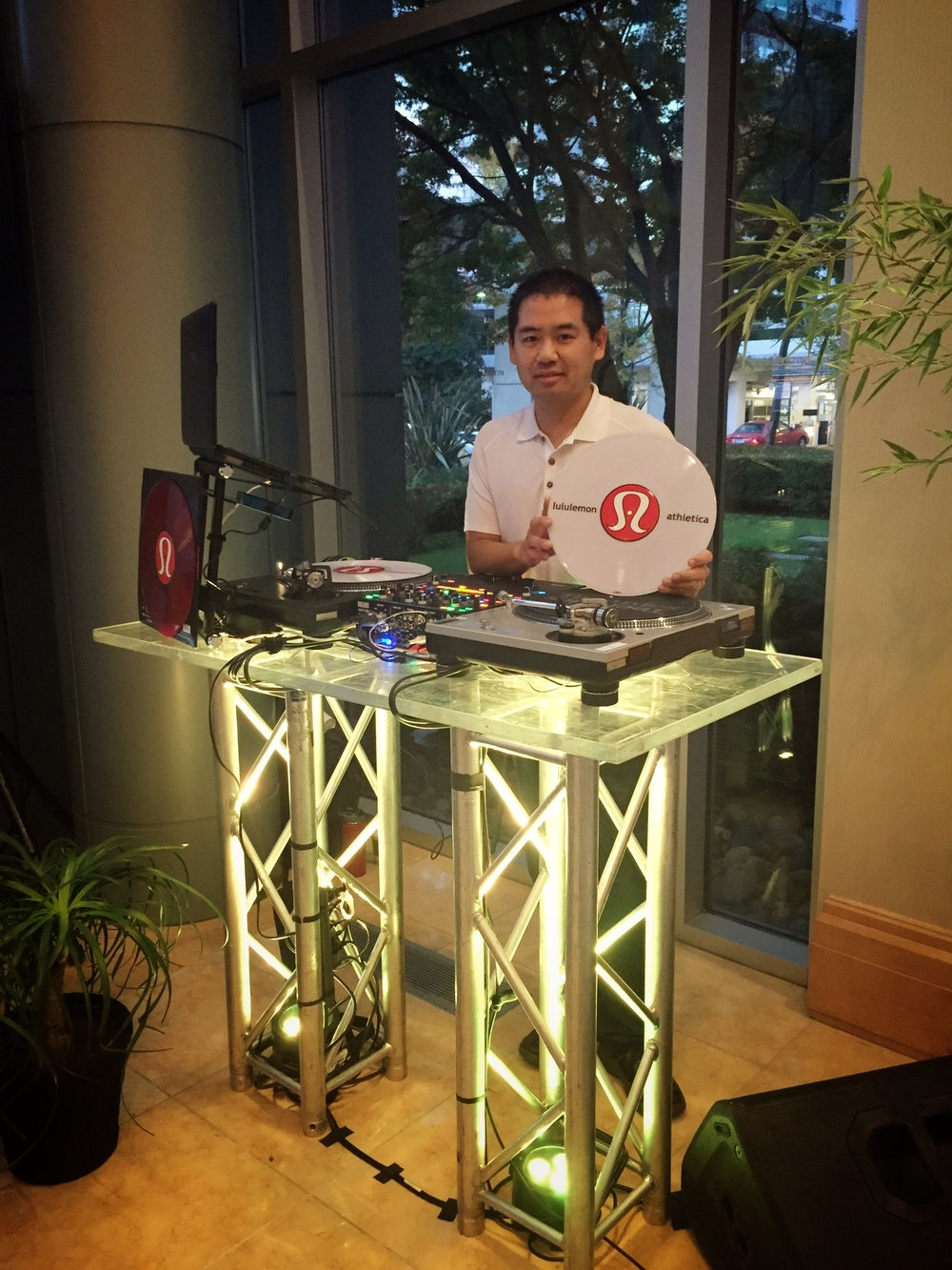 San Diego DJ, Justin Kanoya, at the 2015 Lululemon Managers Conference in Vancouver.