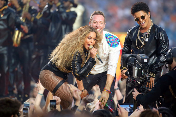 Beyonce, Coldplay and Bruno Mars perform at the Super Bowl 50 Pepsi halftime show.