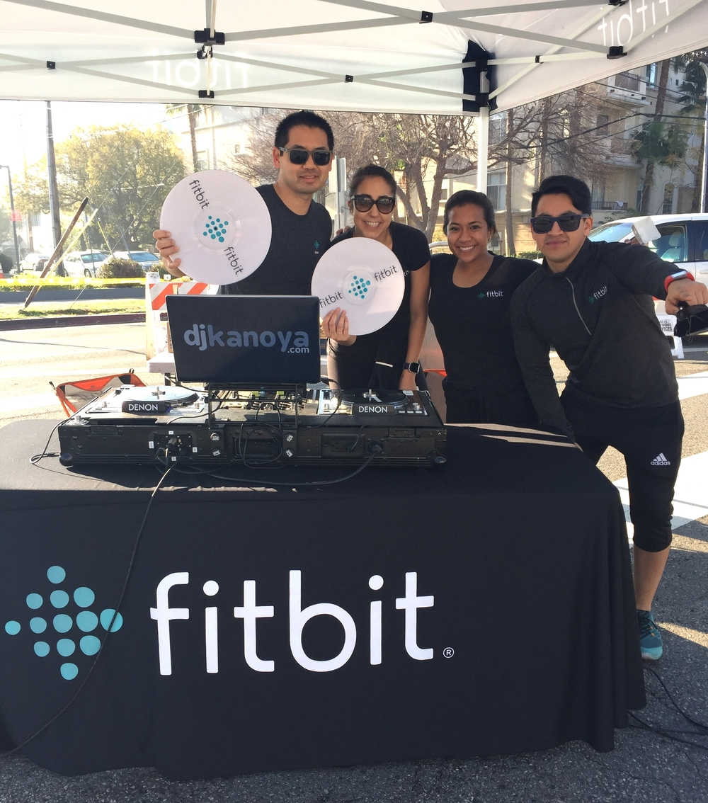 San Diego DJ, Justin Kanoya, with the Fitbit crew at the 2016 Los Angeles Marathon.