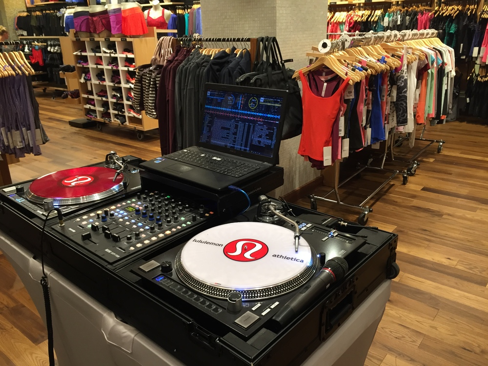 Custom Serato vinyl created just for Lululemon is a perfect touch when spinning tunes at the store.