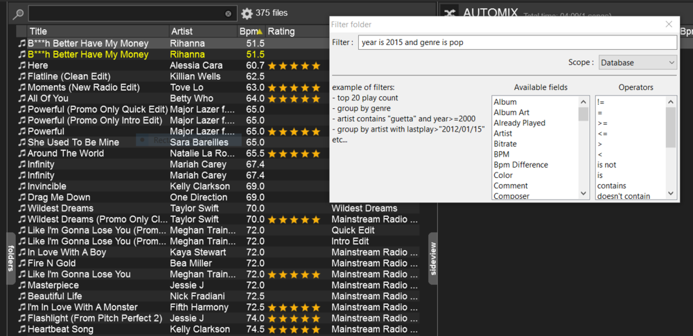 Filtered Folders within Virtual DJ act like assistant you always wish you had.