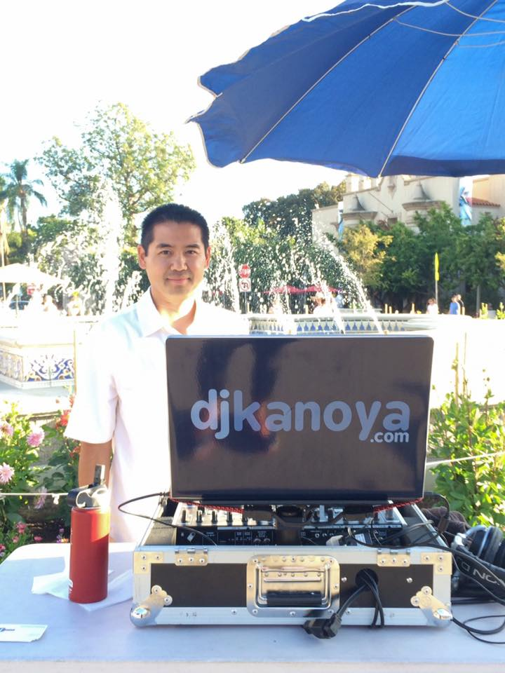 San Diego DJ, Justin Kanoya, DJ's at Balboa Park's Food Truck Friday.