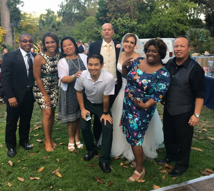 San Diego Wedding DJ, Justin Kanoya, posing with former Port of San Diego colleagues.        Other weddings hosted by DJ Kanoya at San Diego Botanic Garden