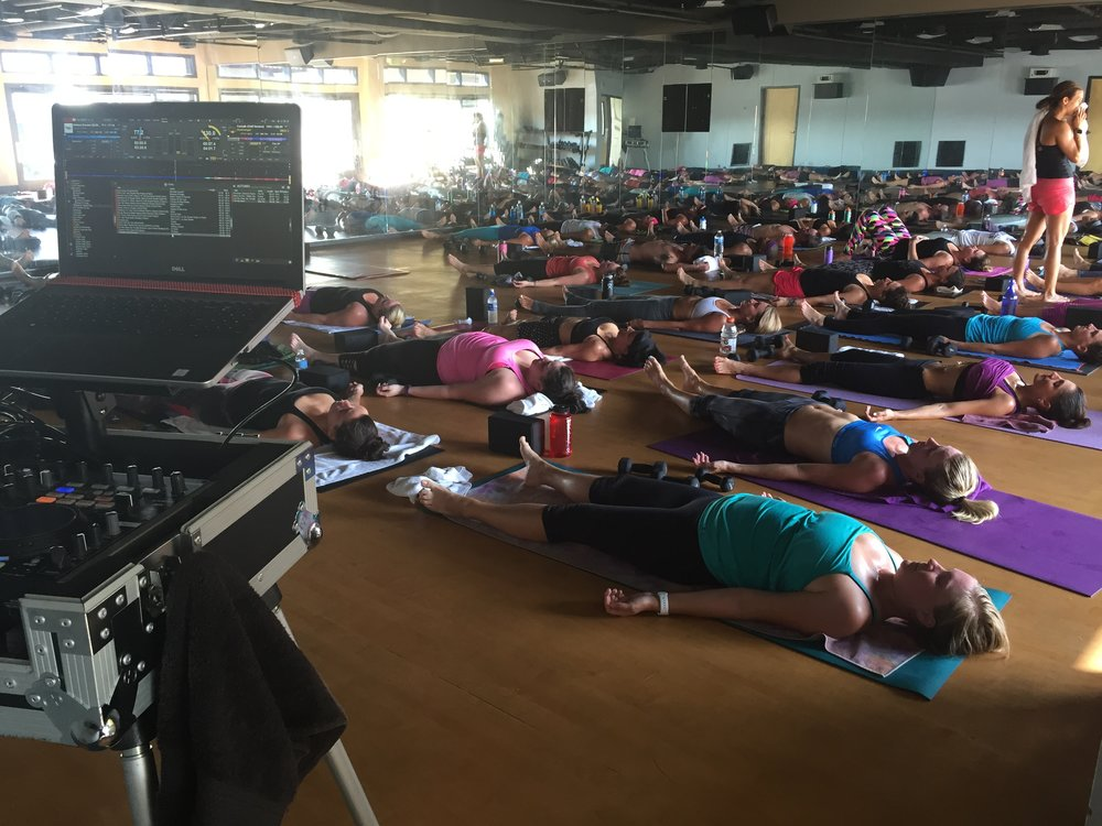 San Diego yoga DJ, Justin Kanoya, DJ's a Katie Burke led sculpt class at Corepower Yoga.