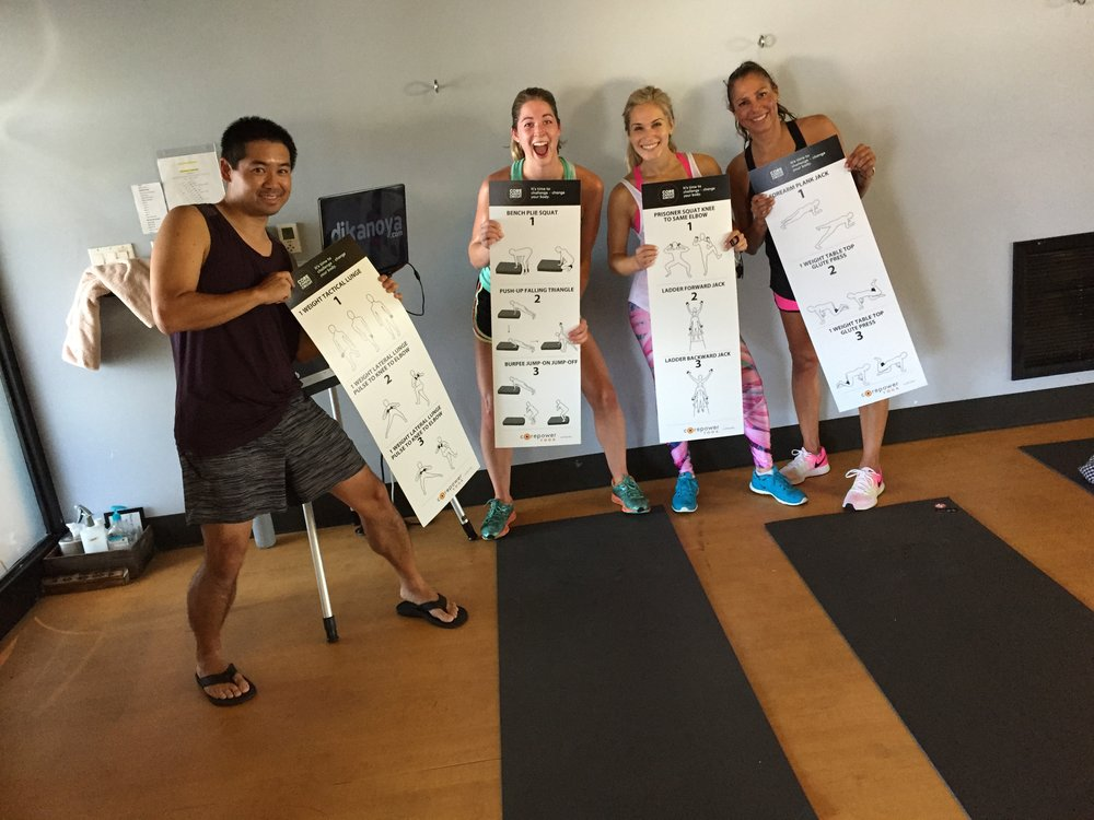San Diego based yoga DJ, Justin Kanoya, DJs a cardio circuit class at Corepower Yoga.