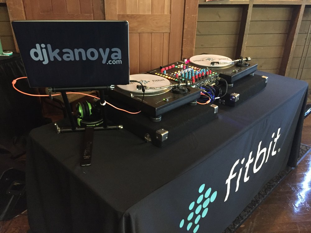 Fitness DJ Justin Kanoya, showcases his custom vinyl/turntable set-up that was used at the Fitbit Sales and Marketing