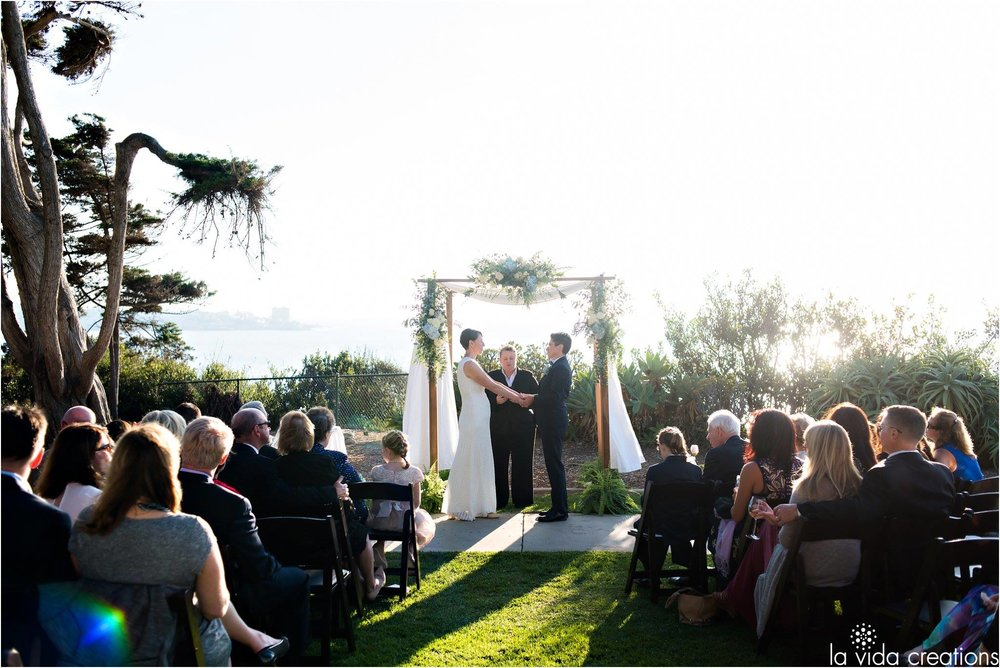 Emily and Monique wed on the picturesque cliff at the Martin Johnson House.
