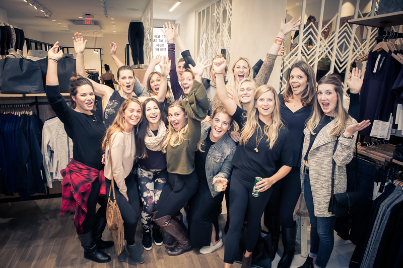 Lululemon La Jolla staff celebrate the grand re-opening of their store.
