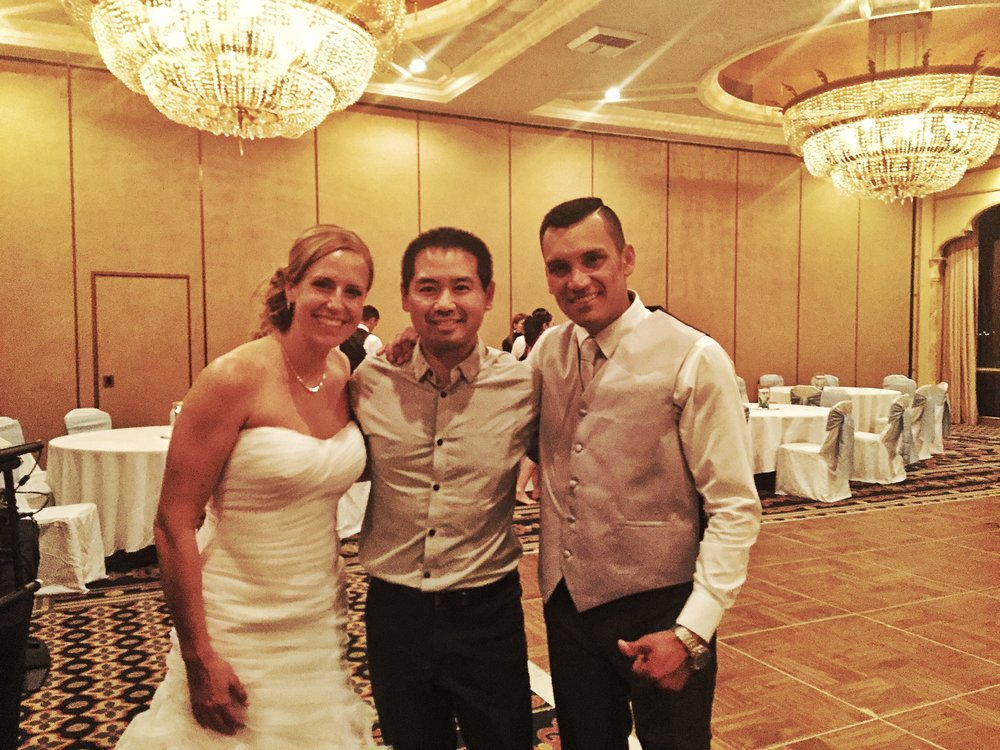 San Diego wedding DJ Justin Kanoya with Nichole and Johan at their wedding at the Bahia in San Diego.