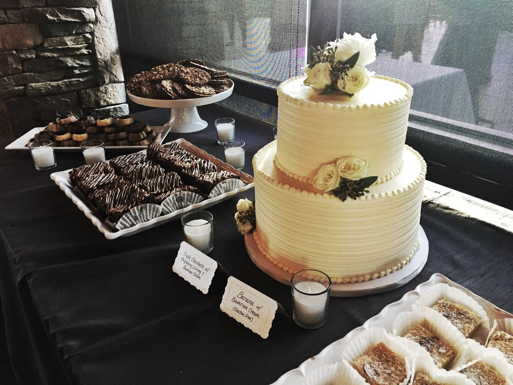 Tom and Kelly's dessert table, including the cake at the their wedding at the Crossings in Carlsbad.