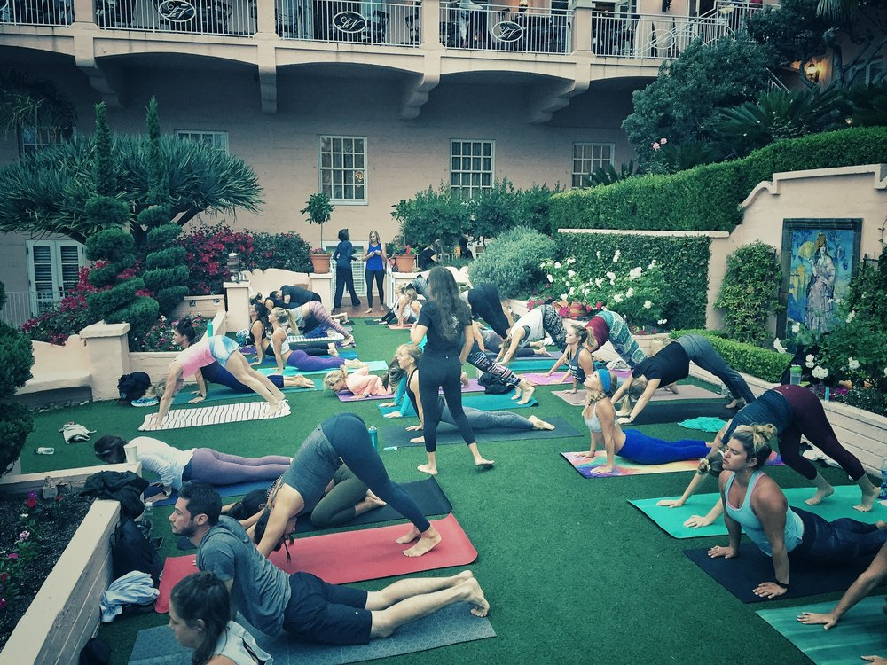 Sara Shermis leads a yoga class at La Valencia hotel in La Jolla, Calif.