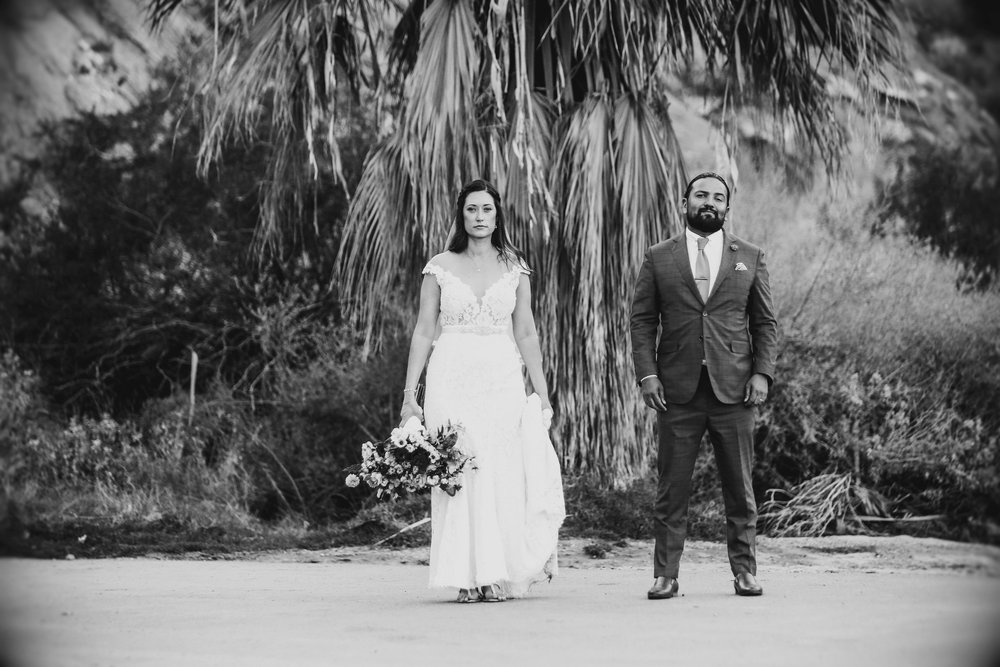 Fabian and Mickela pose after their wedding ceremony at Casa Cody in Palm Springs.