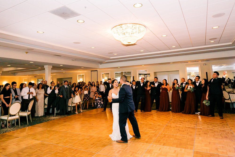 Chuck and Bianca's first dance at their wedding, which took place at the Kona Kai Resort and Spa.
