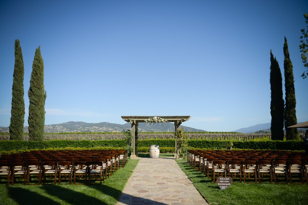The Vineyard Garden, set-up for a wedding, at Ponte Winery.