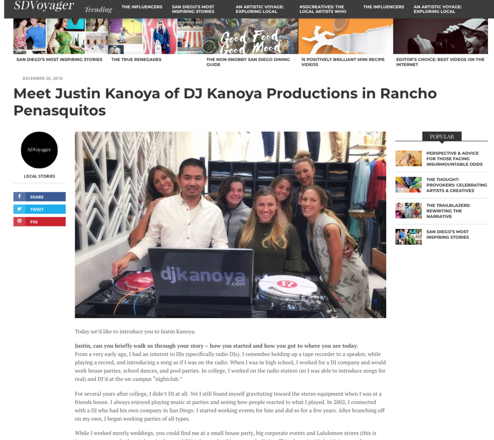 SD Voyager - Meet Justin Kanoya of DJ Kanoya Productions in Rancho Penasquitos