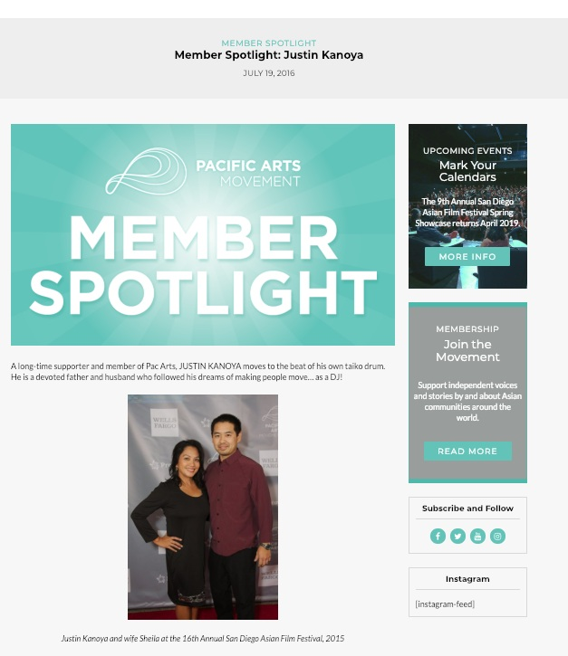 Pacific Arts Movement - Member Spotlight