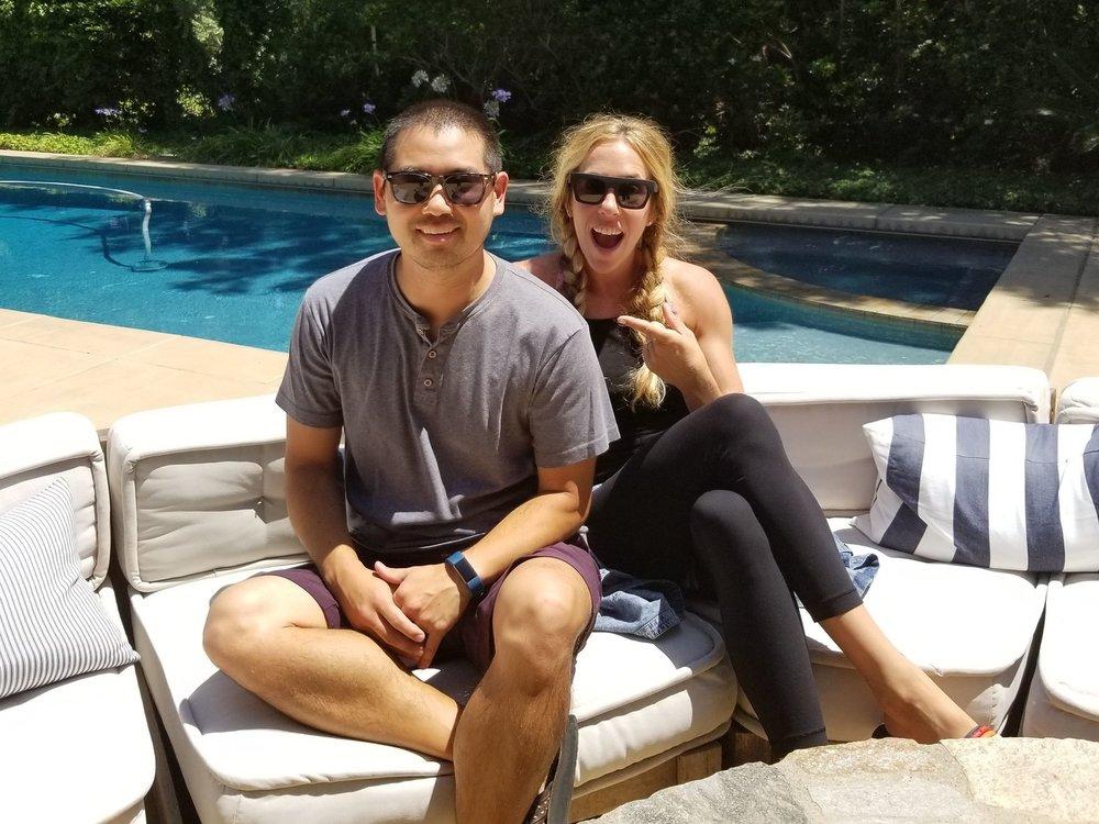 San Diego based yoga and fitness DJ, Justin Kanoya, and yoga teacher, Goldie Graham.