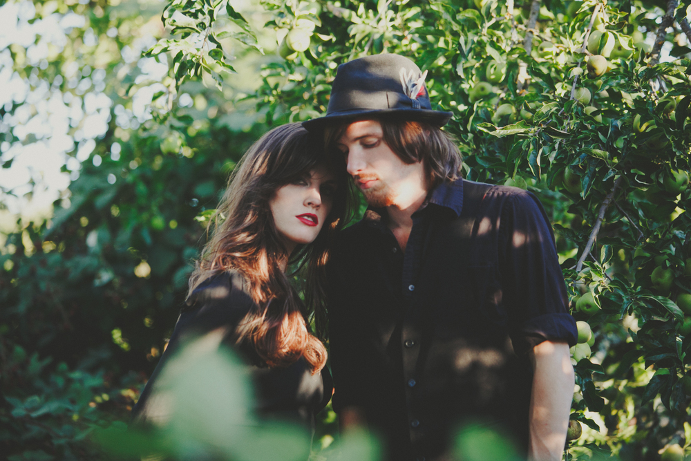 Music & Fashion Photographer Jennifer Skog photographs folk rock duo Ghost & Gale at singer/songwriter Brodie Jenkins California family property.  Hair & Makeup by Lindsay Skog.