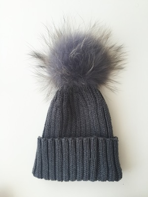 Luxury kids pompom hats - Dark Grey fd59c560785