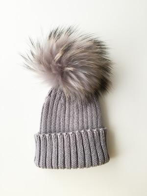 baf8afe23c7 Luxury Kids pompom hat - Light Grey ...